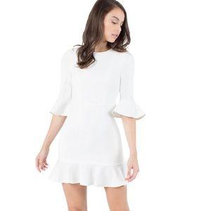 Black Halo White Flutter Sleeve Dress